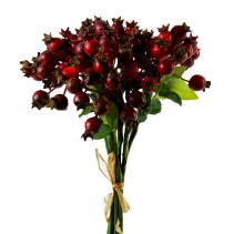 Artificial red christmas berries bunch