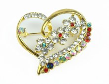 Gold Heart Wedding Brooch