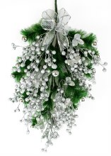 Christmas Swag Green Spruce & Silver Glitter Baubles