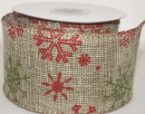 hessian snowflake ribbon with wired edge 6cm x 10yards