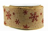 Ribbon Burlap Red Snowflake