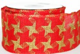 Red hessian wired edge ribbon 6cm x 10yards