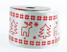 Red reindeer satin white ribbon 6cm x 10yards