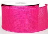 Pink wired edge hessian ribbon 6.5cm x 10yards