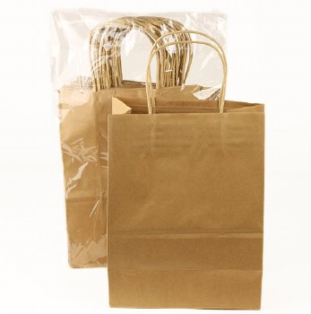 Natual Kraft Paper Bags With Handles 27x21x11cm