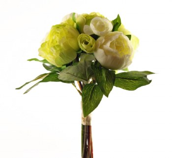 Artificial Peony Rose Bouquet Ivory/ Pale Green