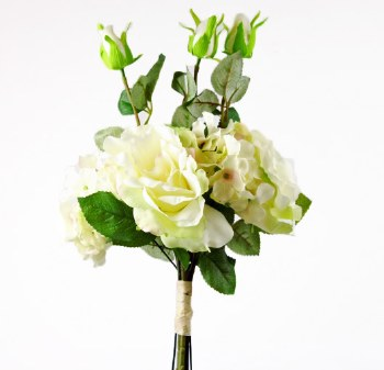 Artificial Hydrangea, Rose and Greenery Bunch 42cm-Ivory