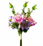 Artificial Hydrangea, Rose and Greenery Bunch-42cm
