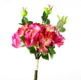 Artificial Hydrangea, Rose and Greenery Bunch 42cm- Pink