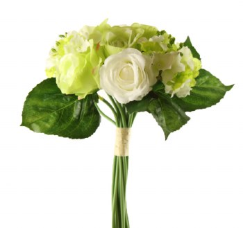 Artificial Rose & Hydrangea Bouquet - White/ Green 38cm