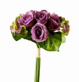 Artificial Rose & Hydrangea Bouquet - Purple 38cm