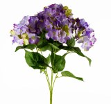 Artificial Hydrangea Bunch x 5 Stems -49cm -Purple