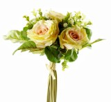 Rose & Greenery Artificial Flower Bouquet Cream & Pale Pink 38cm