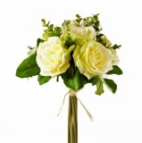 Rose & Greenery Artificial Flower Bouquet - Ivory