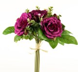 Rose & Greenery Artificial Bouquet Mauve