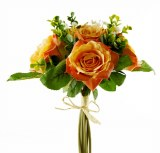 Rose & Greenery Artificial Bouquet- Orange