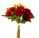 Rose & Greenery Artificial Bouquet - Red