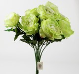 Artificial Rose Bunch x 7 Green