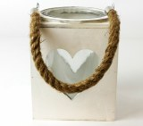 Wooden Heart Lantern With Glass 13cm x 16cm
