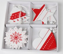 Nordic Christmas Tags Red & White x 8 pcs 5.5cm
