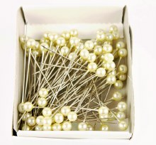 Pearl Florist Pins Cream 5mmx45mm