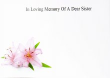Florist Cards Large In Loving Memory Of A Dear Sister x 9pcs