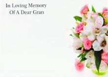 Florist Cards Large In Loving Memory Of A Dear Gran x 9pcs