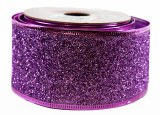Glitter Ribbon Purple Wired Edge 5cm x 10Y