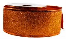 Glitter Ribbon Copper Wired Edge 5cm x 10Y