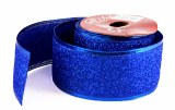 Glitter Ribbon Blue Wired Edge 5cm x 10Yards