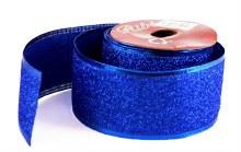 Glitter Ribbon Blue Wired Edge 5cm x 10Yards