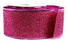 Glitter Ribbon Cerise Wired Edge 5cm x 10Y