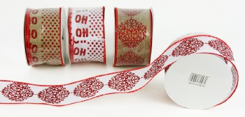 Christmas Wired Edge Ribbon x 1 Roll 6.3cm x 10Y