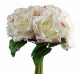 Artificial Rose Mini Posy x 6 Stems White/Pink