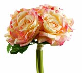 Artificial Rose Mini Posy x 6 Stems Pink/Peach