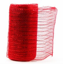 Decor Mesh Fabric Red Metallic Thread 15cm x 10Yds