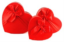 Florist Heart Hat Box set x 3 Red
