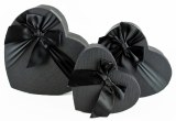 Florist Heart Hat Box Set x 3 Black