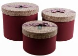 Florist Hat Box x 3 Burgundy