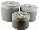 Florist Hat Box Round Grey x 3