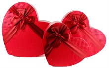 Florist Heart Hat Boxes x 3 Red
