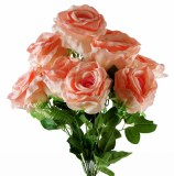 Artificial Rose Bunch Blush Pink x 9