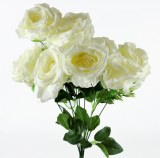 Artificial Rose Bunch Ivory x 9