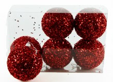 Christmas Baubles 8cm Red x 6