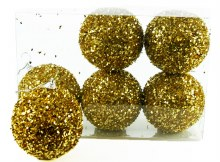 Christmas Baubles 8cm Gold x 6