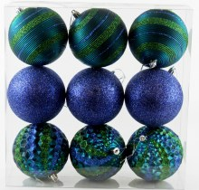 Christmas Baubles Mixed Peacock Blue x 9