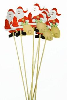 Christmas Florist Bouquet Picks x 6 Santa