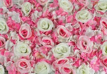 Flower Wall Panel Rose & Hydrangea Pink/ Cream 40cm x 60cm