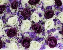 Flower Wall Panel Rose & Hydrangea Purple/ Cream 40cm x 60cm