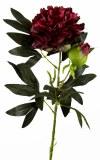 Artificial Peony Rose Flower 90cm Burgundy